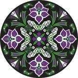 För lotusblommablomma för vektor orientalisk traditionell rund modell Royaltyfria Bilder