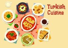 För lunchsymbol för turkisk kokkonst smaklig design vektor illustrationer