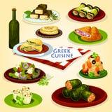 För lunchtecknad film för grekisk kokkonst sund affisch vektor illustrationer