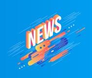 För lutningtext för nyheterna formar den isometriska designen på abstrakta geometriska vätskeblått och orange färg och band med t Royaltyfri Fotografi
