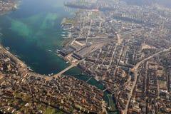 För Luzern Schweiz Lucerne för huvudsaklig station sikt ph för stad stad flyg- Royaltyfria Bilder