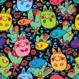 För lycklig färgrik sömlös modell fiskdröm för katt stock illustrationer
