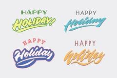 för lycklig hälsning för kalligrafi för bokstäver för hand för tappning ferie` för ` retro och typografiillustration Royaltyfri Fotografi