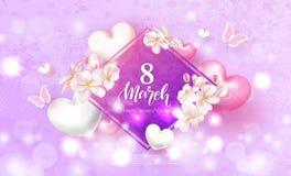 8 för lyckliga kvinnors för mars festligt kort dag Härlig bakgrund med blommor, hjärtor och fjärilar också vektor för coreldrawil stock illustrationer