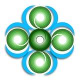För märkesbild för fem spiralt cirklar begrepp Arkivbilder