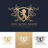 För märkeslogo för lejon kunglig mall Royaltyfri Bild