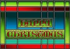 För målad glasfönster för lycklig jul panel stock illustrationer
