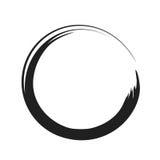 För målarfärgborste för vektor svart slaglängd för cirkel Abstrakt dragen svart färgpulvercirkel för japansk stil hand stock illustrationer