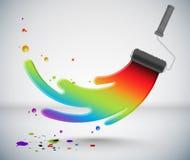 för målarfärgrulle för borste färgrik färgstänk Arkivbilder