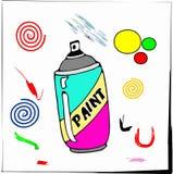 för målarfärgspray för ærosol tecknad film isolerad white Royaltyfri Foto