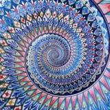 För målningdubblett för färgrik prydnad östlig bakgrund för modell för fractal för abstrakt begrepp för effekt för spiral Geometr Arkivfoto