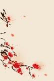 för målningsplommon för blomning orientalisk stil för fjäder Royaltyfria Bilder