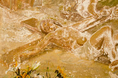 för målningsreligiuos för fragment vägg- tappning Arkivbild