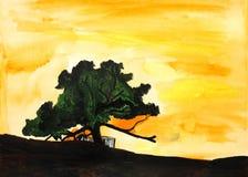 för målningssolnedgång för livstid originell tree Arkivbild