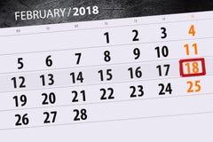 För månadaffär för bakgrund daglig Scheduler 2018 för kalender Februari 18 Arkivbild