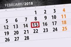 För månadaffär för bakgrund daglig Scheduler 2018 för kalender Februari 15 Royaltyfri Foto