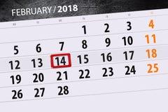 För månadaffär för bakgrund daglig Scheduler 2018 för kalender Februari 14 Arkivbilder