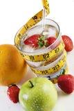 för måttband för frukt glass vatten royaltyfri fotografi