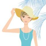 För måttkvinna för ultravioletta strålar hatt Royaltyfri Fotografi