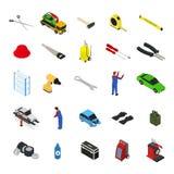 För möblemang- och utrustningsymbol för bil tjänste- sikt för uppsättning isometrisk vektor Royaltyfri Bild