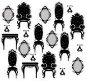 För möblemanguppsättning för tappning svart vektor Rich sniden prydnadmöblemangsamling Viktoriansk stil för vektor Arkivfoto
