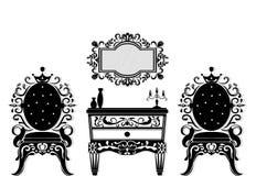 För möblemanguppsättning för tappning svart vektor Rich sniden prydnadmöblemangsamling Viktorianska stilar för vektor Arkivfoton