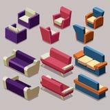För möblemangvektor för vardagsrum isometrisk uppsättning Sofa och fåtöljer Fotografering för Bildbyråer