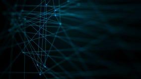 för mörkerabstrakt begrepp för animering 4K linje anslutning för prick för bakgrund för för teknologinätverk för cyber futuristis stock illustrationer