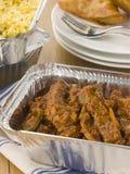 för madras för away nötkött indisk take för rice pilau Arkivbild