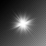 För magiskt vitt isolerad ljus effekt strålglöd för vektor på genomskinlig bakgrund royaltyfri illustrationer