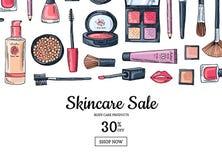 För makeupprodukter för vektor hand dragen bakgrund för försäljning Royaltyfri Bild
