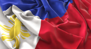 För makronärbild för Filippinerna flagga rufsat Beautifully vinkande skott Arkivbild