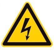 för makrotecken för elektrisk fara hög isolerad spänning Arkivbilder