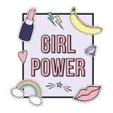 ` För makt för flickan för vektoraffisch` med den gulliga modelappen förser med märke: kanter regnbåge, stjärna, diamant, läppsti vektor illustrationer
