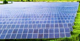 För maktpaneler för sol- energi fält arkivfoton