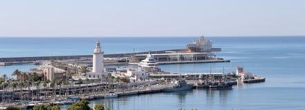 för malaga bostadsspain för flyg- andalusia område white sikt Flyg- sikt av port och staden Arkivfoto