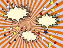 För mallsol för komiker brast den retro strålen eller stjärnan beståndsdelen Arkivbild