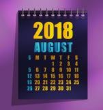 för mallvektor för 2018 kalender illustration stock illustrationer