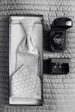 För man` s för elegant festligt bröllop brud- slips av silke, klockor och cufflinken Arkivfoton