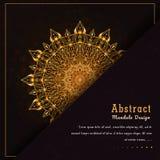 För mandaladesign för vektor lyxig dekorativ bakgrund i guld- färg stock illustrationer