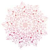 För mandalaklotter för hand utdragen modell i zentanglestil vektorrosa färger som isoleras på vit bakgrund Zenklotter, hjärtor Fä vektor illustrationer