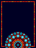 För mandalaram för färgrik cirkel blom- bakgrund i blått och apelsinen, vektor Arkivbild