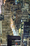 för manhattan för flyg- stad horisont york ny natt Royaltyfri Fotografi