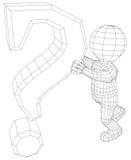 För maninnehav för docka 3d tecken för fråga stock illustrationer