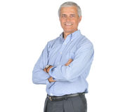 för manmitt för åldriga armar blå vikt skjorta Arkivfoto