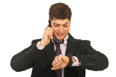 för manmobil för affär lycklig telefon royaltyfri foto