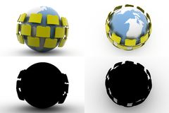 för mappöverföring för jord 3d samlingar för begrepp med Alpha And Shadow Channel Royaltyfri Fotografi