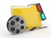 för mappexponeringsglas för film 3d rulle för multimedior stock illustrationer