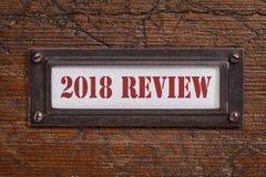 för mappkabinett för 2018 granskning etikett Arkivfoto