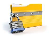 för mapplås för data 3d yellow för säkerhet Data och avskildhetssäkerhetsbegrepp Infor Royaltyfria Bilder